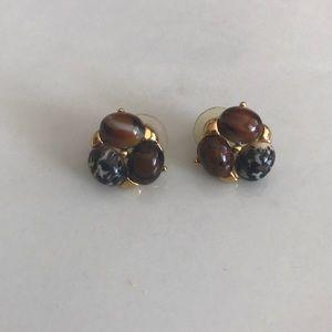 Vintage Gold plated multi jasper post earrings
